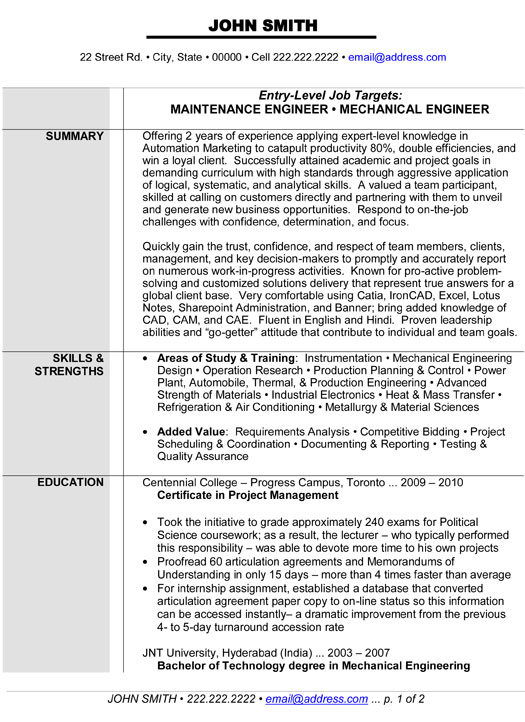 Mechanical Maintenance Engineer Resume Sample Pdf