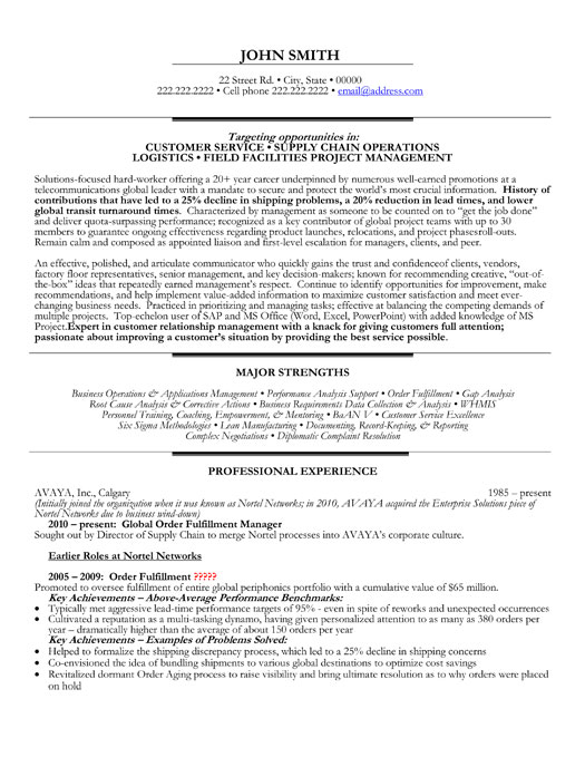 global order fulfillment officer resume template