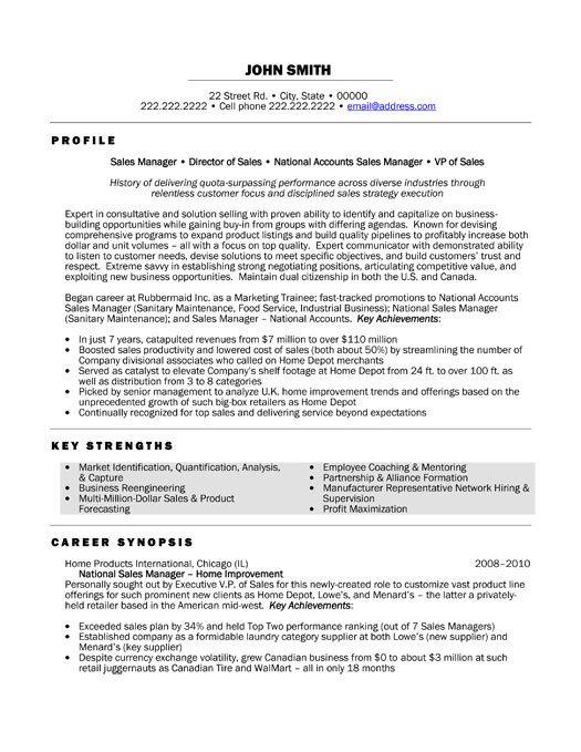 national sales manager resume template premium resume