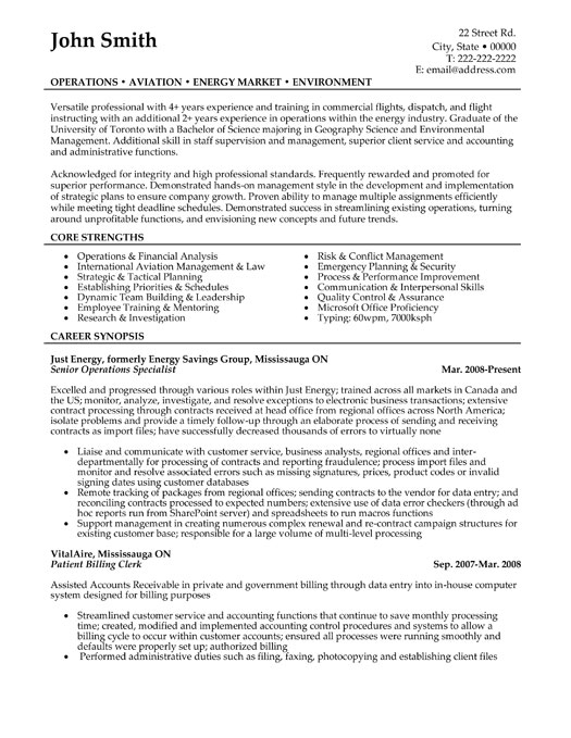 senior operations specialist resume template