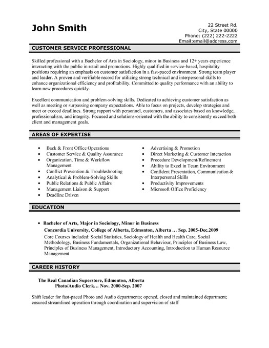 customer service professional resume template