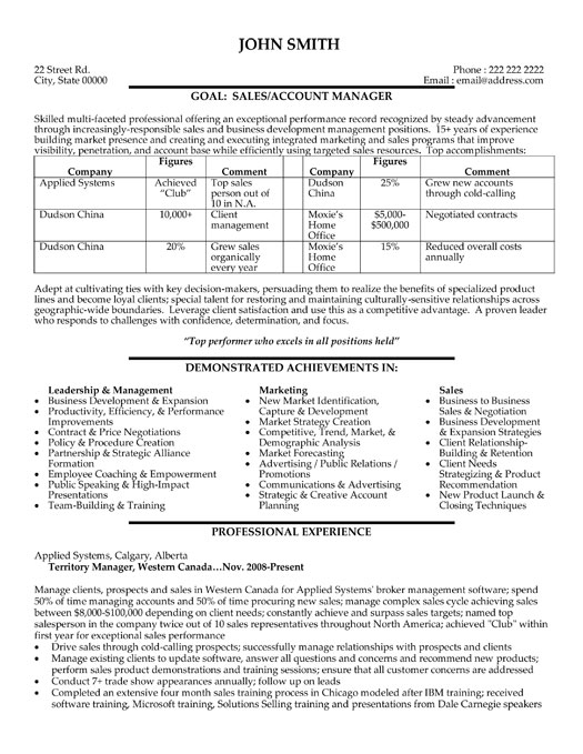 Sales Manager Resume Template Work With One Of The Most Sought