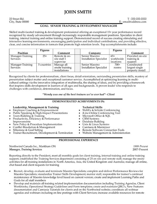 employee training manager resume template premium resume