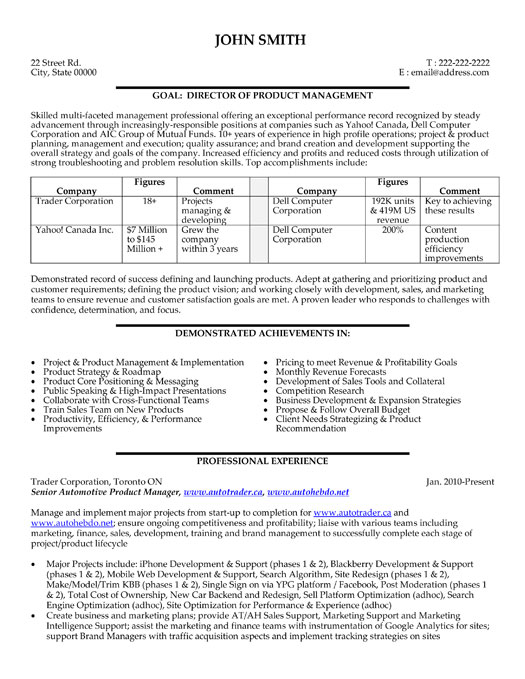 director or product manager resume template