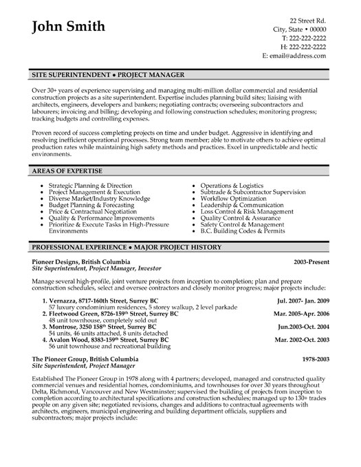 construction superintendent resume samples