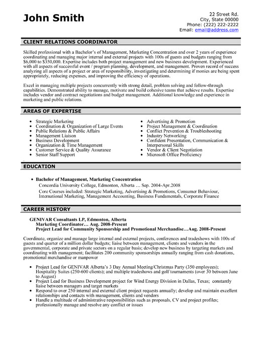Sample resume client services