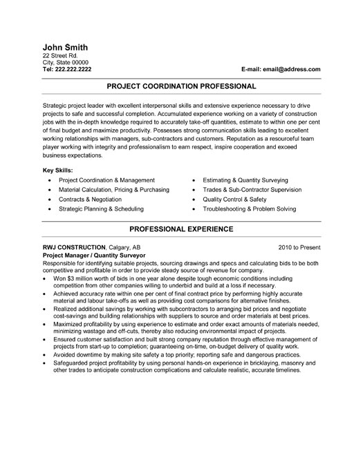 Resume Template For Project Manager,Project Coordinator Resume ...