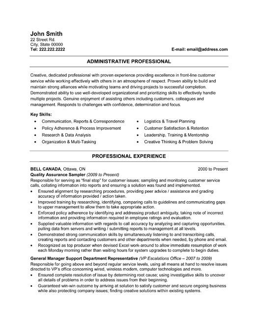 Administration Resume Samples