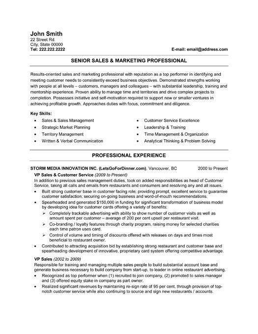 senior sales and marketing professional resume template
