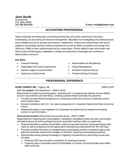 Finance and accounting resume examples