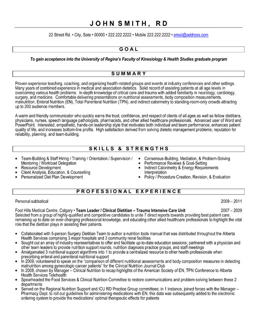 resume format for graduate school