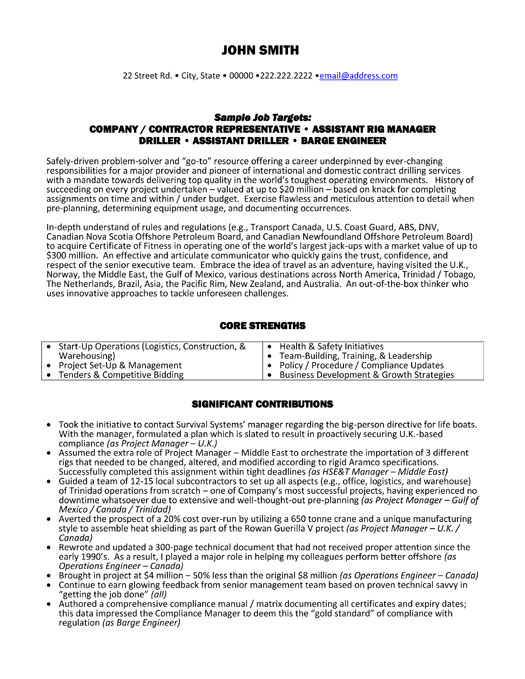 contractor representative resume template