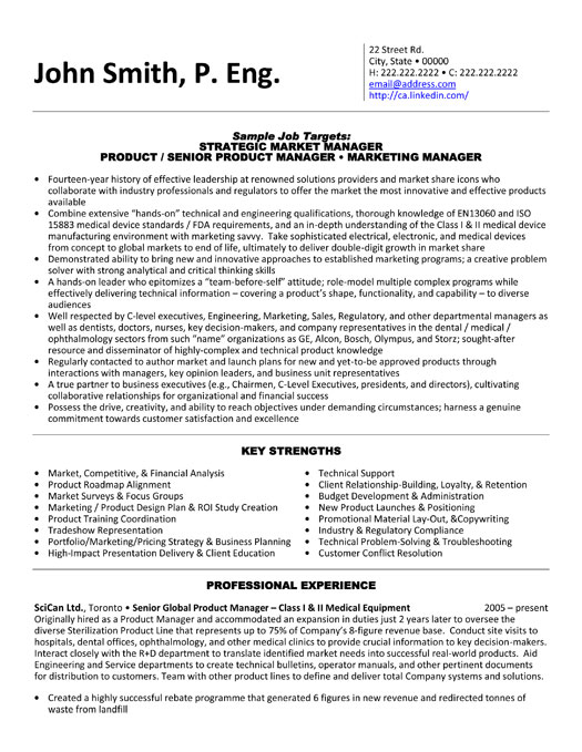 strategic market manager resume template