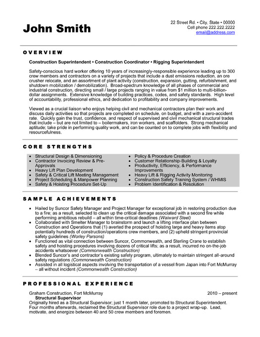 construction superintendent resume similar construction resume