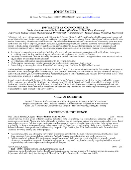 senior administrator resume template