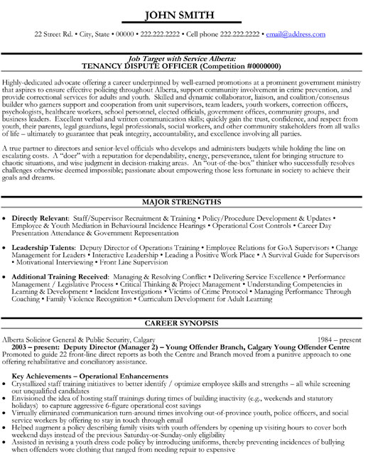 dispute officer resume template