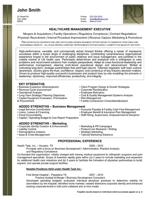 Healthcare executive resume examples