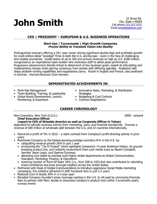 CEO President Resume Template | Premium Resume Samples & Example