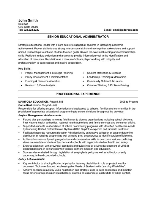 resume sample for education administrator - Education Administrative Resume Samples