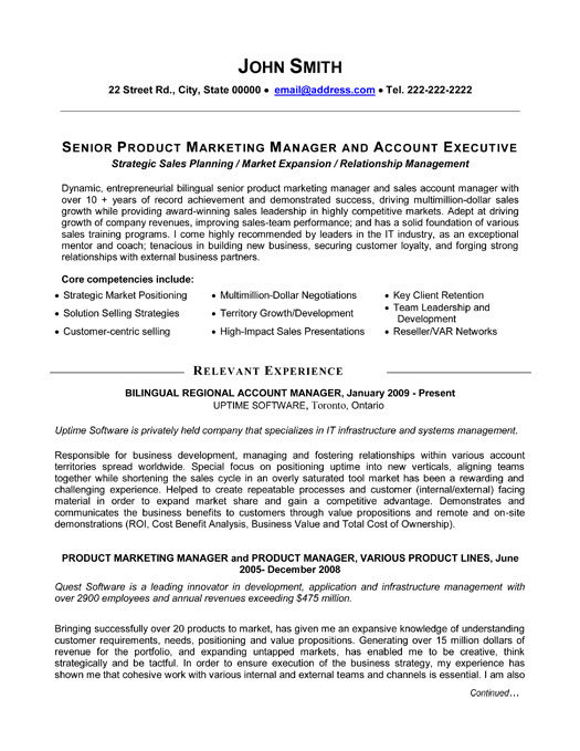 senior product manager resume template