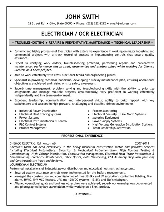 industrial electrician resume - Electrician Sample Resume