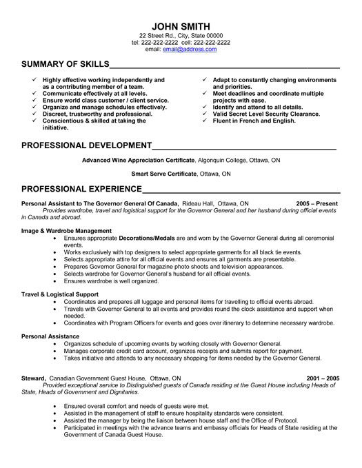 personal assistant resume sample my perfect resume personal