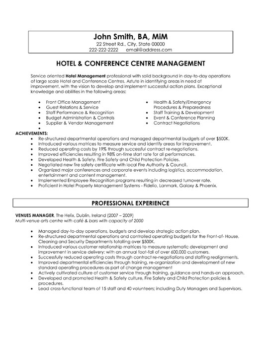 resume cover letter for hotel management