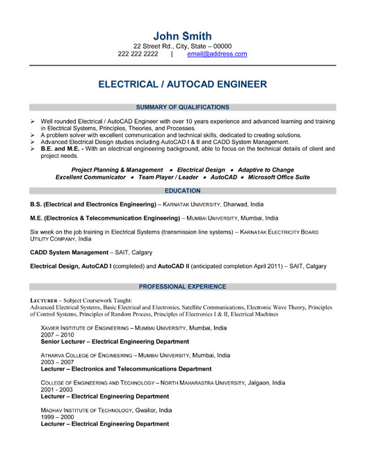 Example resume electrical engineering student resume sample for Sample resume of an electrical engineer