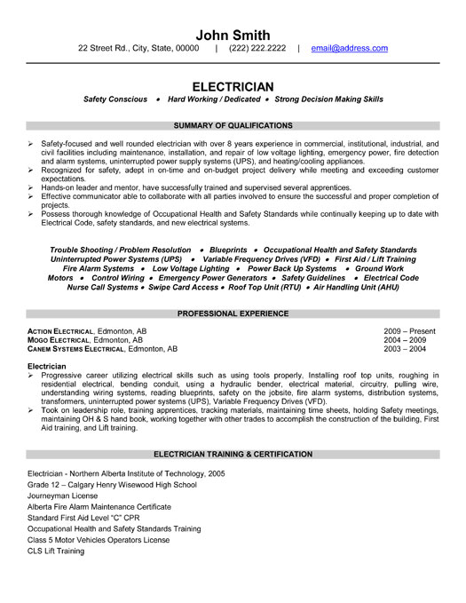 resume - Sample Resume Electrician