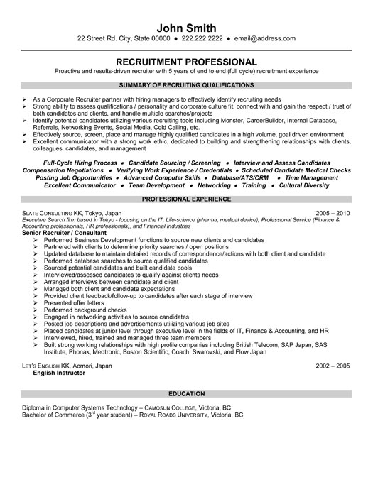 Technical it recruiter resume – Physician Recruiter Resume