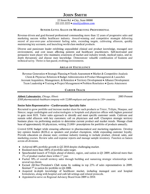 Sales Rep Sample Resume Template Template,Senior Sales ...