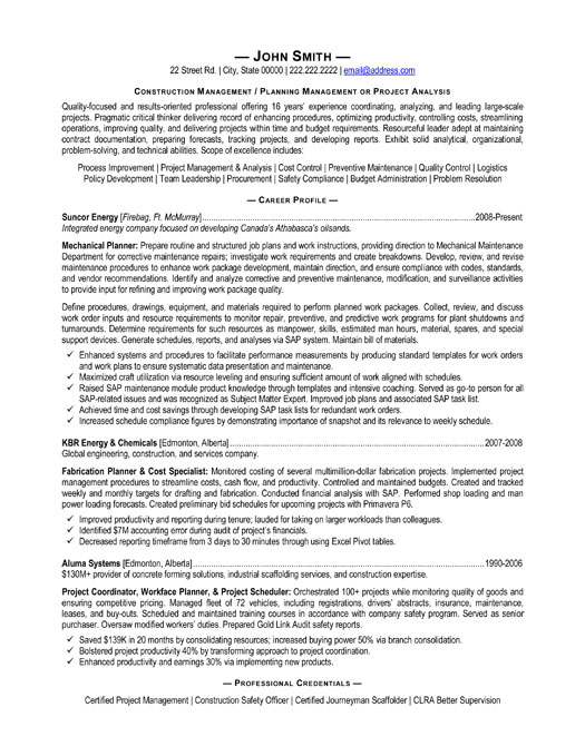 Construction Management resume mla format sample