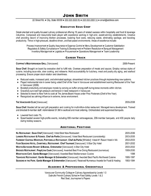 executive sous chef resume template premium resume
