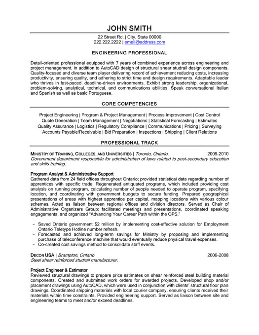 professional engineer resume sample - Engineer Resume Template