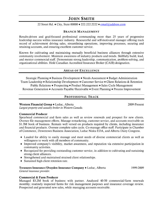 branch manager resume template