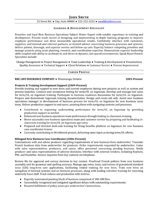 learning and development specialist resume template