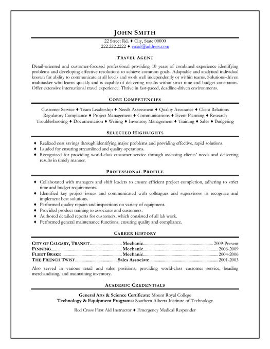 example resume sample resume travel agent