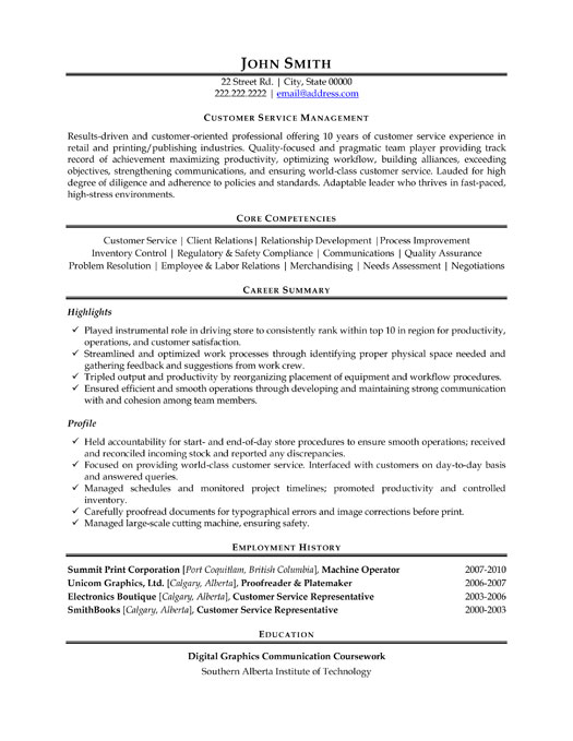 customer service manager resume template