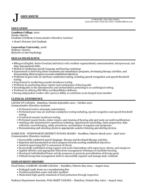 audiology clinical assistant resume template