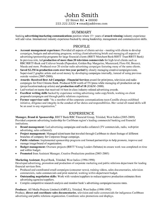 Account manager resume example