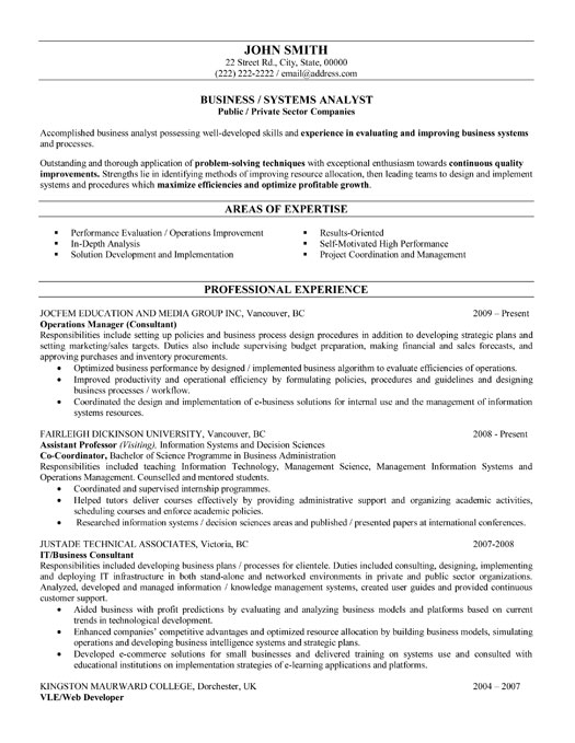 business or systems analyst resume