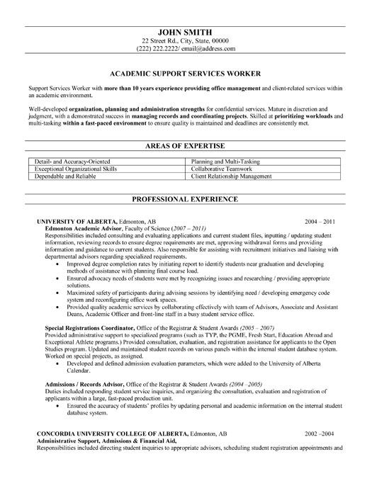 academic advisor cover letter no experience