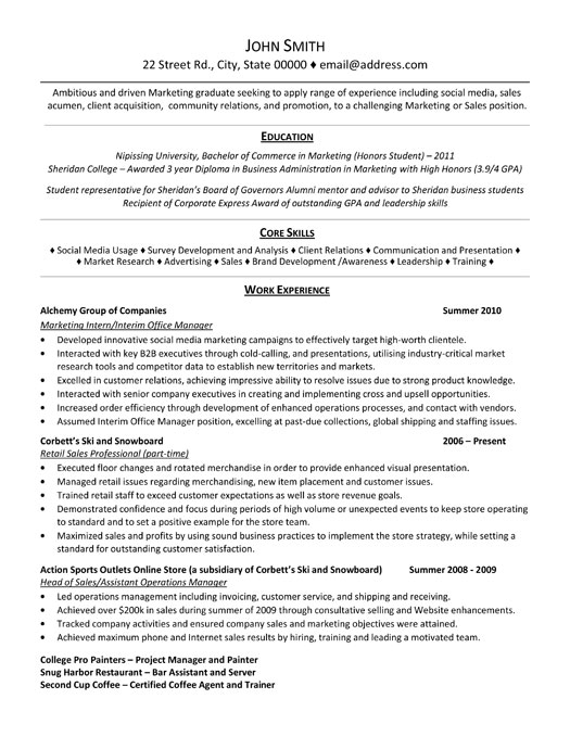 marketing intern resume template