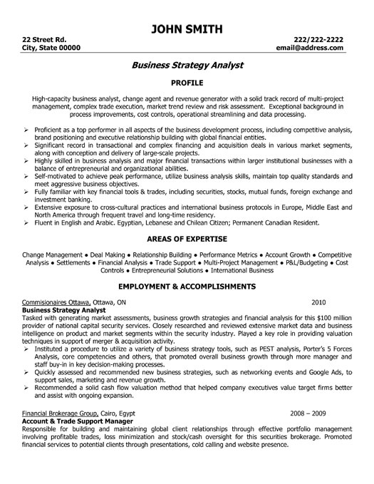sample cv pricing analyst