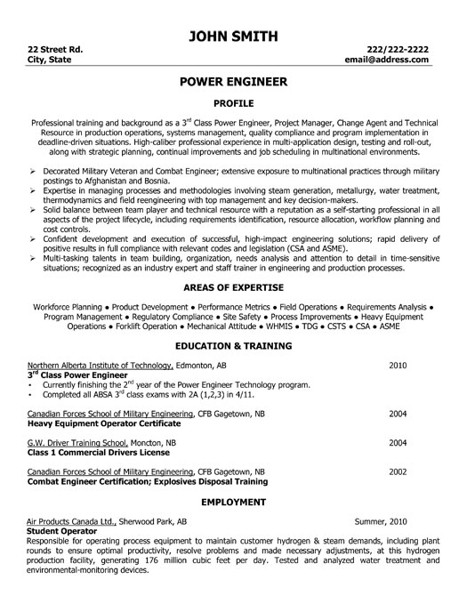 power engineer resume template