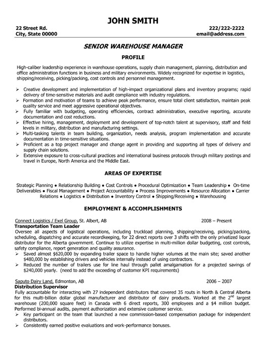senior warehouse manager resume template