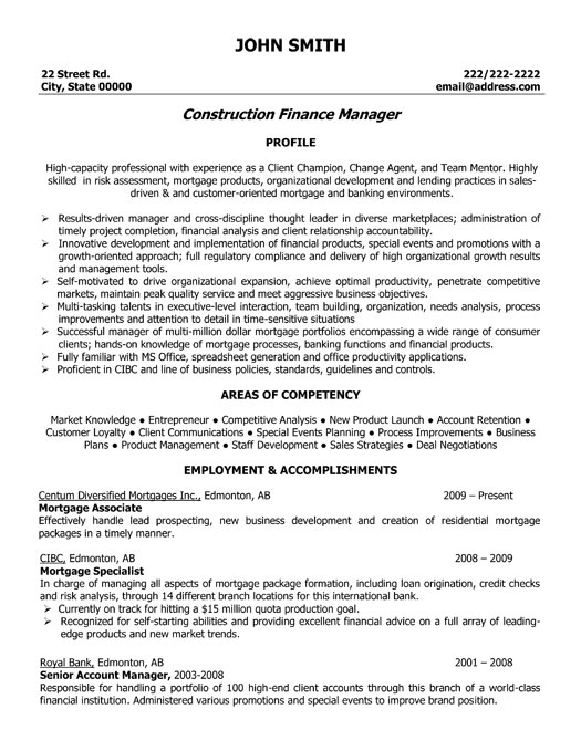 construction finance manager resume template