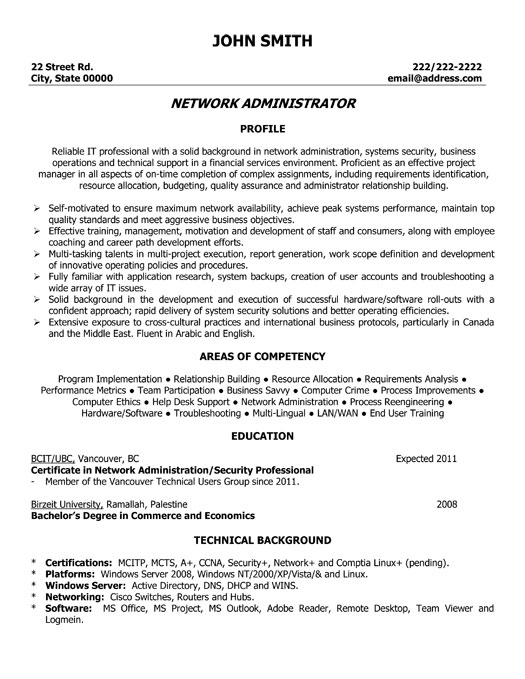 cover letter for junior network administrator