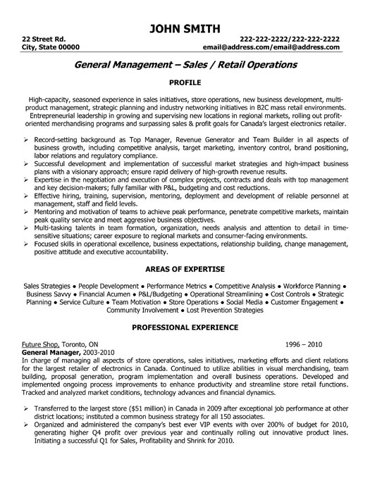 general sales manager resume