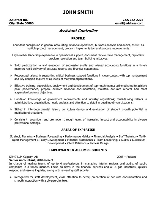 Controller Resume Sample] Financial Controller Resume Template